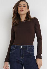 Born2be - Ciemnobrązowe Body Maerane. Kolor: brązowy. Materiał: jeans. Długość rękawa: długi rękaw. Długość: długie. Styl: klasyczny