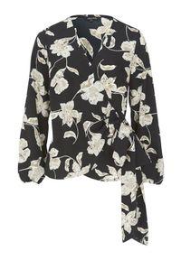 Czarna bluzka Happy Holly w kwiaty, długa, z długim rękawem, z kopertowym dekoltem