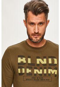 Oliwkowa bluza nierozpinana Blend z okrągłym kołnierzem, na co dzień, z nadrukiem, casualowa