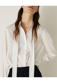 Marella - MARELLA - Biała koszula z jedwabiem. Okazja: do pracy, na spotkanie biznesowe. Kolor: biały. Materiał: jedwab. Długość rękawa: długi rękaw. Długość: długie. Styl: biznesowy, klasyczny, elegancki