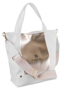 Duża torebka biało-złota Badura TD_204BIA/ZL_CD. Kolor: biały, złoty, wielokolorowy. Materiał: skórzane. Rozmiar: duże