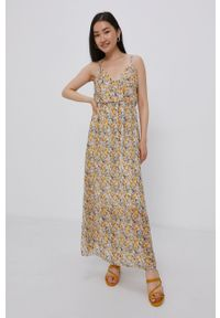 Haily's - Sukienka. Kolor: żółty. Materiał: tkanina. Typ sukienki: rozkloszowane