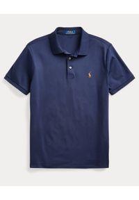 Ralph Lauren - RALPH LAUREN - Granatowa koszulka Custom Fit Soft Cotton. Okazja: na co dzień. Typ kołnierza: polo. Kolor: niebieski. Materiał: prążkowany. Wzór: kolorowy, haft. Styl: casual
