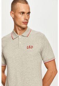 Szara koszulka polo GAP casualowa, na co dzień, z aplikacjami, krótka