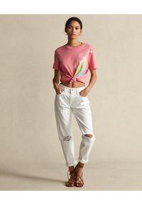 Ralph Lauren - RALPH LAUREN - Różowy t-shirt z graficznym nadrukiem. Typ kołnierza: polo. Kolor: wielokolorowy, fioletowy, różowy. Materiał: tkanina. Wzór: nadruk #2