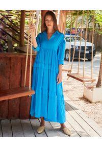 BY CABO - Niebieska sukienka Fiji. Kolor: niebieski. Materiał: len, wiskoza. Typ sukienki: oversize. Styl: wakacyjny