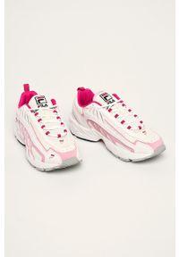 Różowe buty sportowe Fila na sznurówki, z cholewką