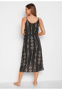 Sukienka plażowa z założeniem kopertowym bonprix czarny w graficzny wzór. Okazja: na plażę. Kolor: czarny. Typ sukienki: kopertowe