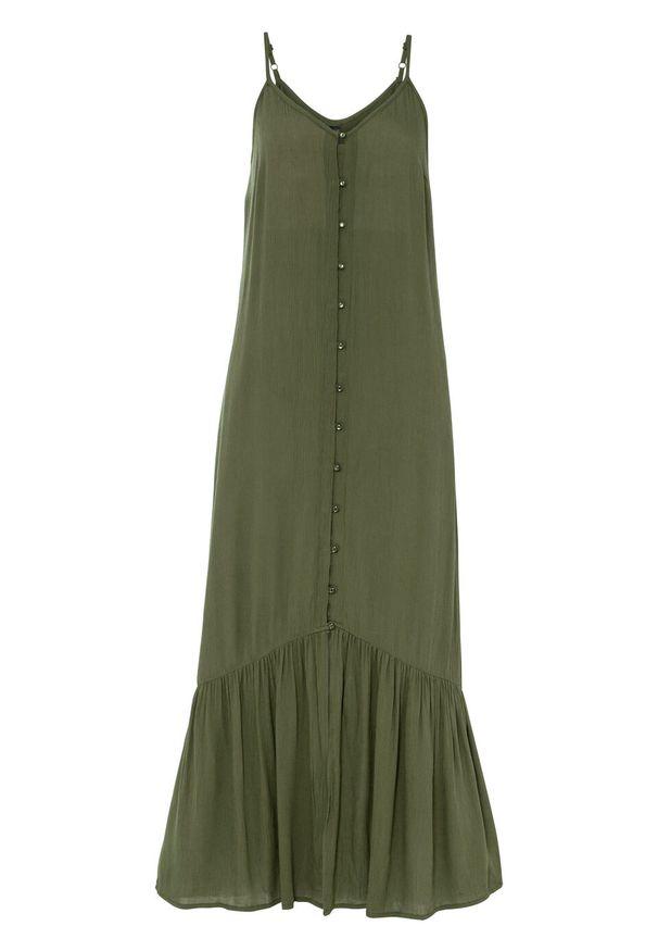 Długa sukienka bonprix ciemny khaki. Typ kołnierza: dekolt w serek. Kolor: zielony. Sezon: lato. Długość: maxi