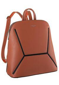 DAVID JONES - Plecak damski koralowy David Jones 6261-2 CORAL. Kolor: pomarańczowy. Materiał: skóra ekologiczna