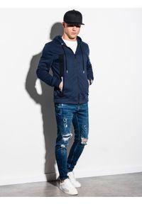 Ombre Clothing - Bluza męska rozpinana z kapturem B1073 - granatowa - L. Typ kołnierza: kaptur. Kolor: niebieski. Materiał: bawełna, poliester, materiał