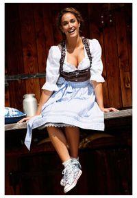 Sukienka ludowa z fartuchem, długość do kolan bonprix brązowy wzorzysty. Kolor: szary. Długość: midi