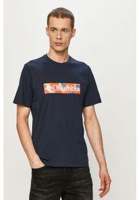 Niebieski t-shirt columbia na co dzień, z nadrukiem, casualowy