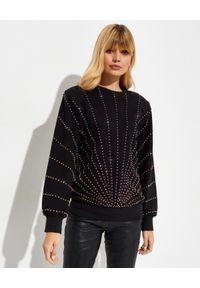 RETROFETE - Bluza z kryształami Swarovskiego. Kolor: czarny. Materiał: bawełna. Długość: długie. Wzór: aplikacja, kolorowy
