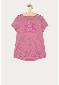 Różowa bluzka z krótkim rękawem Under Armour casualowa, z nadrukiem, na co dzień