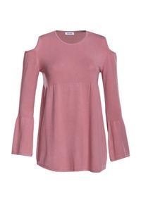 Różowy sweter VEVA z długim rękawem, długi