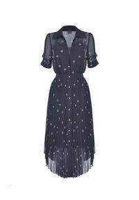 Pinko - PINKO - Czarna midi sukienka z plisowaniem. Kolor: czarny. Wzór: kwiaty, aplikacja. Sezon: wiosna. Długość: midi