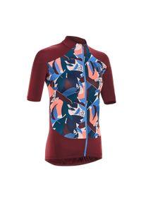 TRIBAN - Koszulka Krótki Rękaw Na Rower 500 Sunplant Damska. Kolor: niebieski, wielokolorowy, czerwony. Długość rękawa: krótki rękaw. Długość: krótkie. Sport: kolarstwo