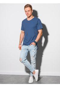 Ombre Clothing - T-shirt męski bawełniany S1378 - granatowy - XXL. Kolor: niebieski. Materiał: bawełna