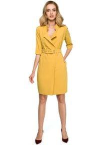 MOE - Żółta Elegancka Szmizjerka z Paskiem. Kolor: żółty. Materiał: wiskoza, poliester, elastan. Typ sukienki: szmizjerki. Styl: elegancki