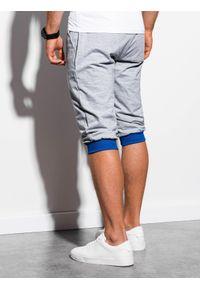 Ombre Clothing - Krótkie spodenki męskie dresowe P29 - szaro-niebieskie - XXL. Kolor: szary. Materiał: dresówka. Długość: krótkie. Styl: klasyczny #6