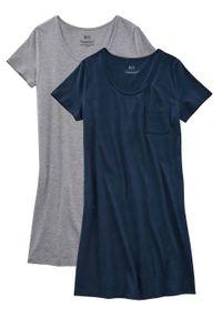 Koszula nocna z bawełny organicznej (2 szt.) bonprix ciemnoniebiesko-jasnoszary melanż
