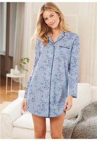 Koszula nocna z plisą guzikową bonprix jasnoniebieski w kwiaty
