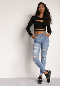 Renee - Jasnoniebieskie Jeansy Skinny Nesarei. Kolor: niebieski
