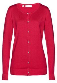 Sweter rozpinany bonprix czerwień granatu. Kolor: czerwony. Styl: elegancki