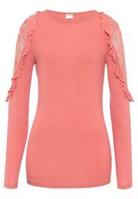 Różowa bluzka bonprix z długim rękawem, w koronkowe wzory, długa