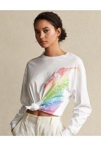 Biała bluzka Ralph Lauren z długim rękawem, w kolorowe wzory, polo