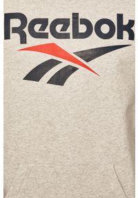 Szara bluza nierozpinana Reebok Classic z kapturem, na co dzień, casualowa