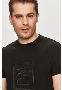 Czarny t-shirt Karl Lagerfeld casualowy, z nadrukiem, na co dzień