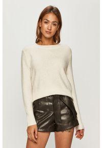 Biały sweter Morgan z długim rękawem, długi, melanż