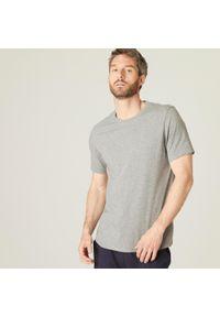 NYAMBA - Koszulka krótki rękaw fitness. Kolor: szary. Materiał: poliester, elastan, bawełna, materiał. Długość rękawa: krótki rękaw. Długość: krótkie. Sport: fitness