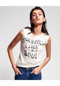 ONETEASPOON - Biała koszulka z nadrukiem Rock & Roll. Kolor: biały. Materiał: bawełna. Wzór: nadruk. Styl: rockowy