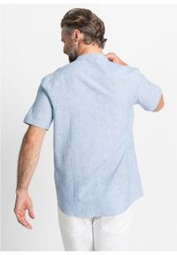 Koszula z lnem, krótki rękaw bonprix jasnoniebieski melanż. Typ kołnierza: kołnierzyk stójkowy. Kolor: niebieski. Materiał: len. Długość rękawa: krótki rękaw. Długość: krótkie. Wzór: melanż