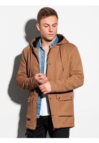 Ombre Clothing - Płaszcz męski wiosenny C454 - brązowy - XXL. Typ kołnierza: kaptur. Kolor: brązowy. Materiał: elastan, dzianina, poliester. Sezon: wiosna