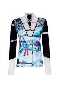 Niebieski sweter Sportalm z nadrukiem, z golfem, retro, na zimę