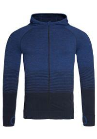 Niebieski sweter Stedman w gradientowe wzory, z kapturem