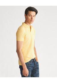 Żółte polo z krótkim rękawem Ralph Lauren z haftami, polo