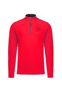 Czerwony golf Descente retro, krótki, w kolorowe wzory