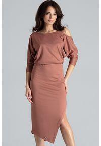 Lenitif - Asymetryczna sukienka z kimonowym rękawem brązowa. Okazja: na co dzień. Kolor: brązowy. Materiał: tkanina. Typ sukienki: asymetryczne. Styl: casual