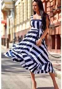 IVET - Sukienka MEZRA. Okazja: na co dzień. Kolor: biały, wielokolorowy, niebieski. Sezon: lato. Typ sukienki: rozkloszowane. Styl: casual