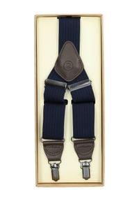 Lancerto - Szelki Granatowe w Jodełkę. Kolor: niebieski. Materiał: syntetyk, skóra, materiał, elastan. Wzór: jodełka