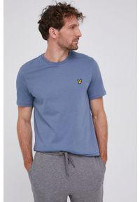 Lyle & Scott - T-shirt bawełniany. Okazja: na co dzień. Kolor: fioletowy. Materiał: bawełna. Wzór: gładki, aplikacja. Styl: casual