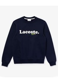 Lacoste - LACOSTE - Bawełniana bluza z logo. Okazja: na co dzień. Typ kołnierza: bez kaptura. Kolor: niebieski. Materiał: bawełna. Długość rękawa: długi rękaw. Długość: długie. Wzór: haft. Styl: klasyczny, casual