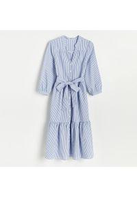 Niebieska sukienka Reserved midi, szmizjerki