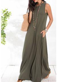 IVET - Sukienka ADRIANA. Kolor: oliwkowy. Materiał: tkanina. Długość rękawa: na ramiączkach
