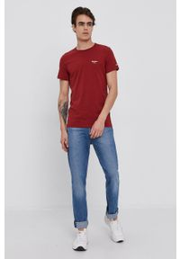Pepe Jeans - T-shirt Original Basic 3. Kolor: czerwony. Materiał: dzianina. Wzór: gładki